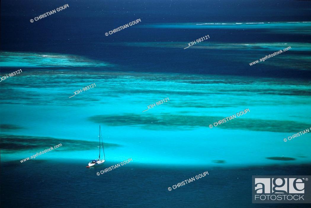 Stock Photo: sailing boat lied at anchor,Mayreau,Grenadines islands,Saint Vincent and the Grenadines,Winward Islands,Lesser Antilles,Caribbean Sea.