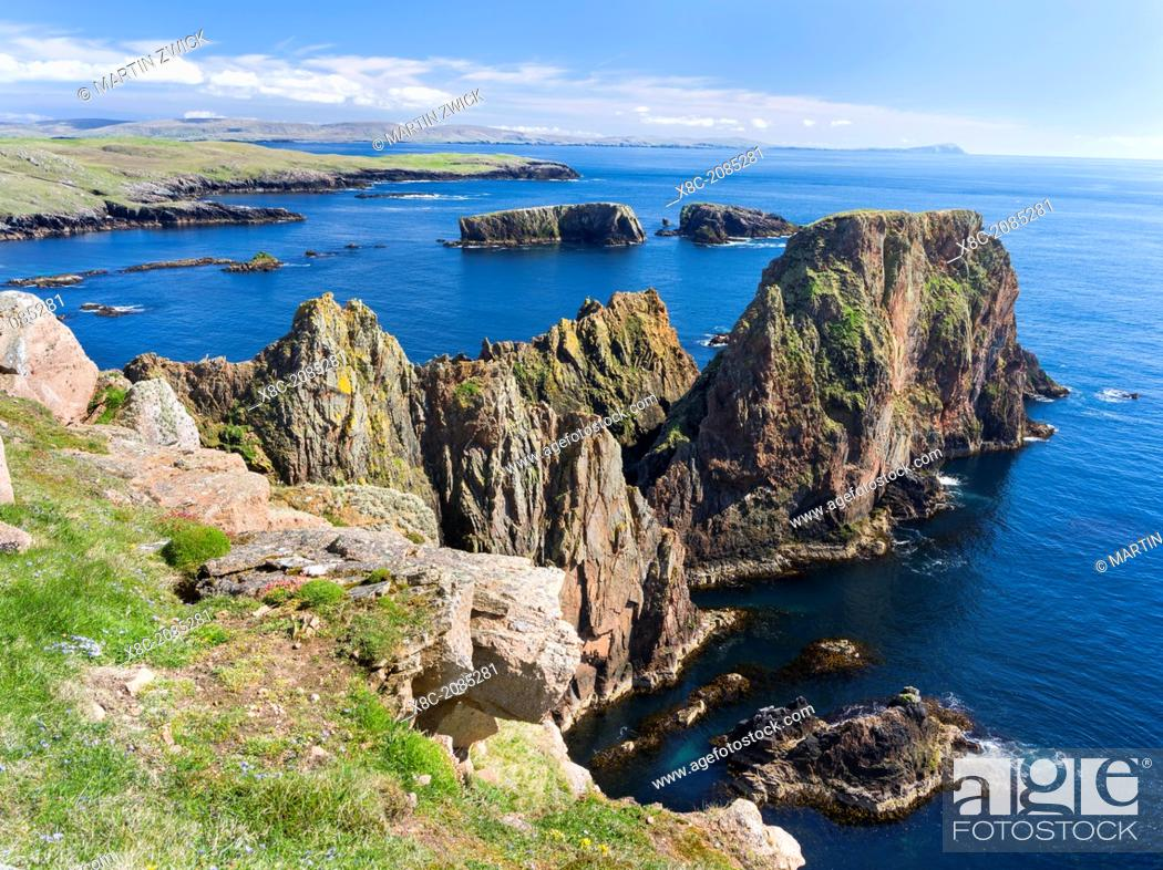 Stock Photo: Landscape on West Shetland. the cliffs between Silwick and Westerwick, in the background south shetland with Fitful Head.