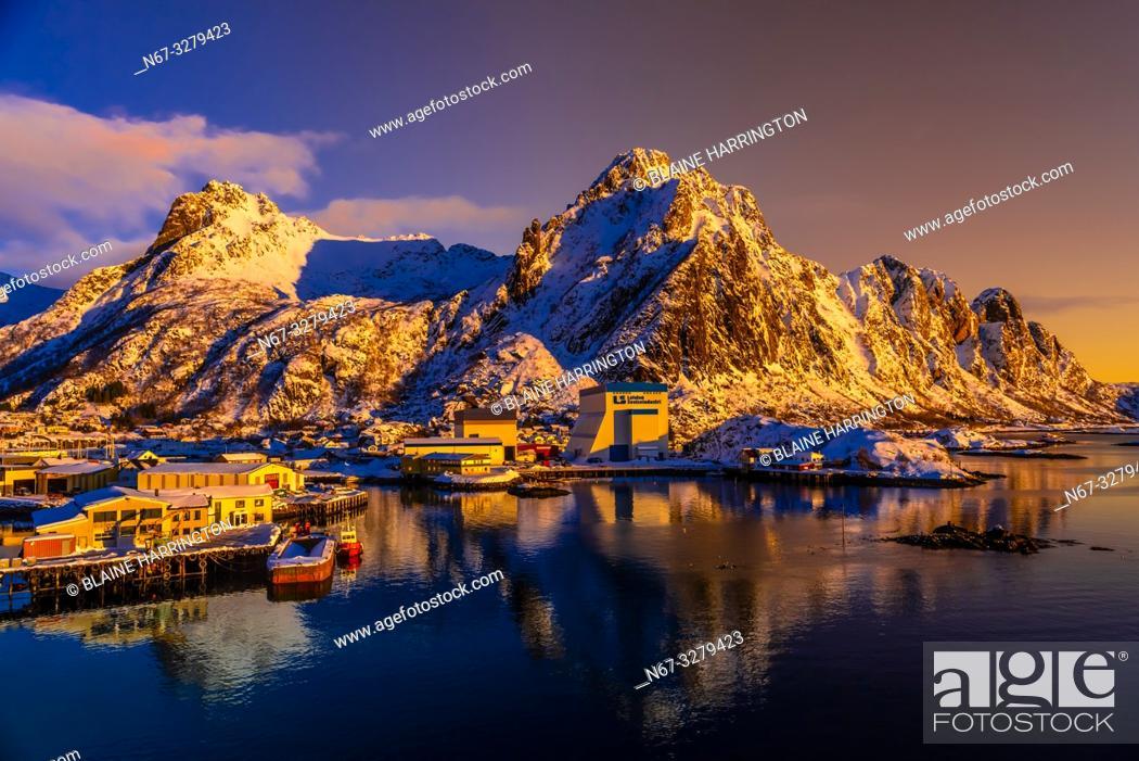 Stock Photo: A commercial harbor in Svolvaer, on Austvagoya Island, Lofoten Islands, Arctic, Northern Norway.