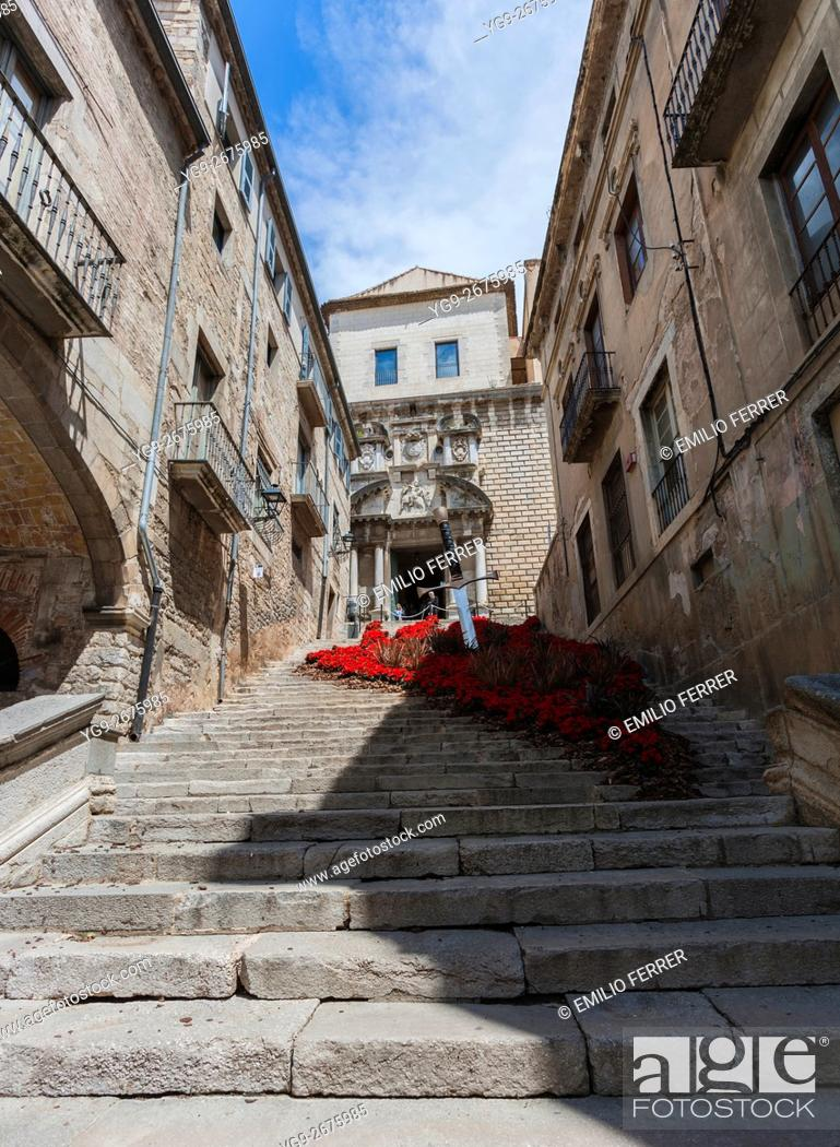 Stock Photo: SANT MARTA CHURCH WITH FLORAL ART EXHIBITION IN GIRONA. CATALONIA. SPAIN.