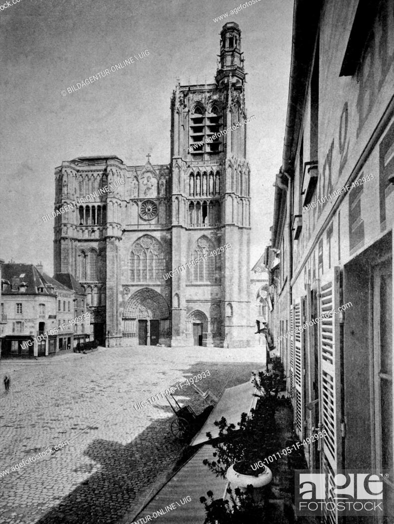 Photo de stock: Early autotype of sens cathedral, sens, burgundy, france, historical picture, 1884.