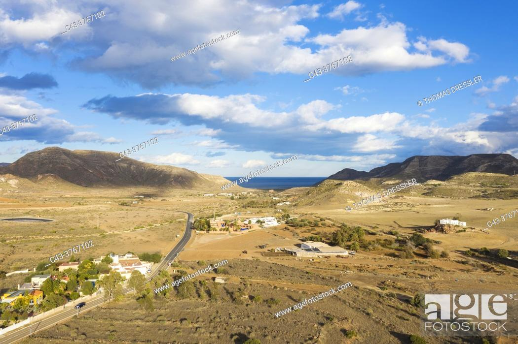 Stock Photo: Detail of the Rodalquilar valley. Aerial view. Drone shot. Nature Reserve Cabo de Gata-Nijar, Almeria province, Andalusia, Spain.