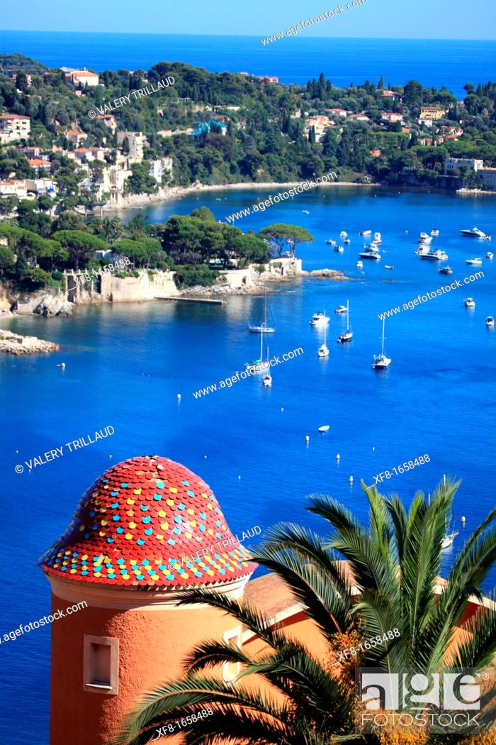 Stock Photo: The coastal village of Villefranche sur mer and Cap Ferrat, French Riviera, Alpes-Maritimes, Provence-Alpes-Côte d'Azur, France, Europe.