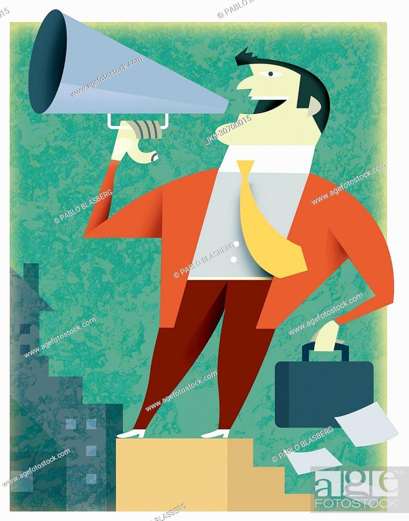 Imagen: Businessman talking into bullhorn.