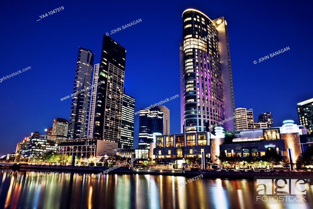 Stock Photo: South Bank skyline with Crown casino.