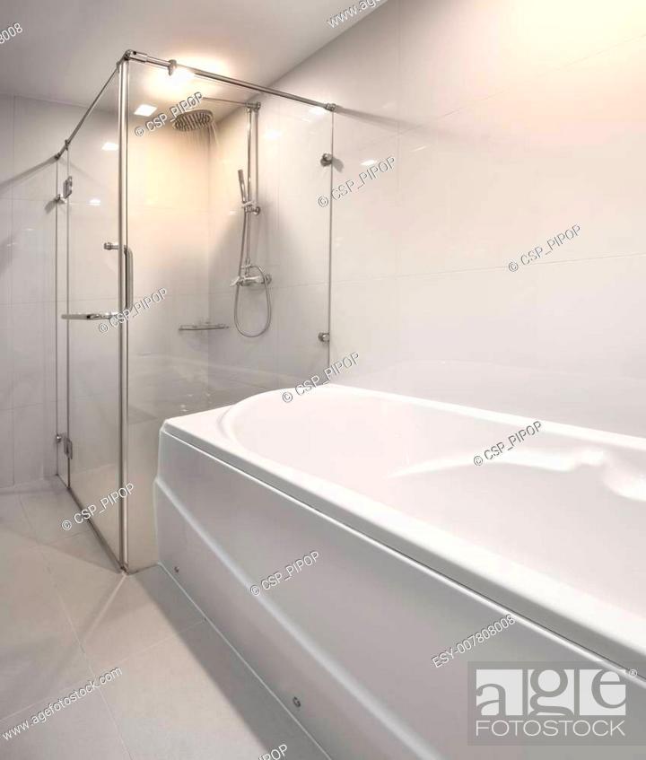 Stock Photo: Modern shower and bathtubs.
