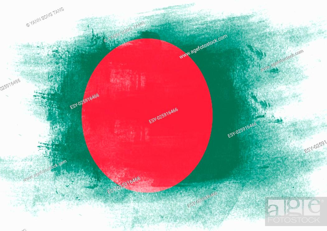 Stock Photo: Flag of Bangladesh painted with brush on solid background,.
