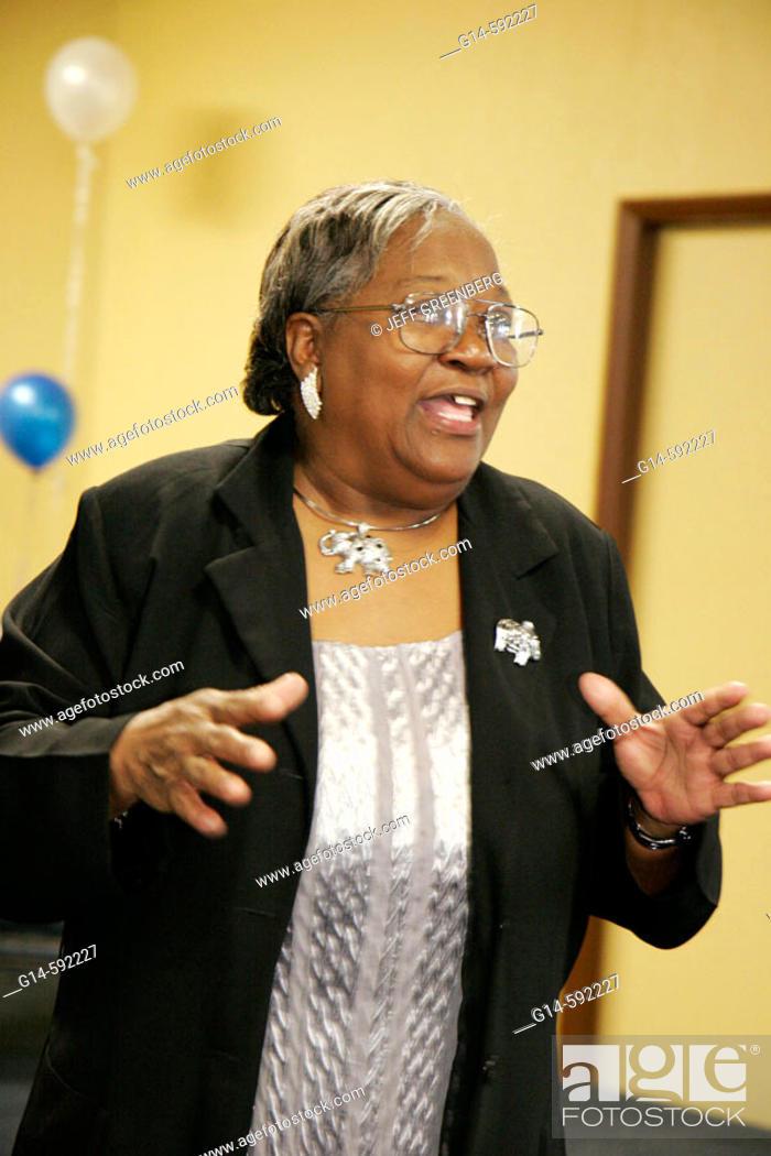 Stock Photo: Florida, Miami Gardens, Grandparents Raising Grandchildren Appreciation Breakfast, Black senior woman speaks,.