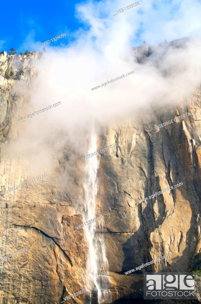 Stock Photo: Upper Yosemite Falls from Yosemite Falls Trail, Yosemite National Park, California.