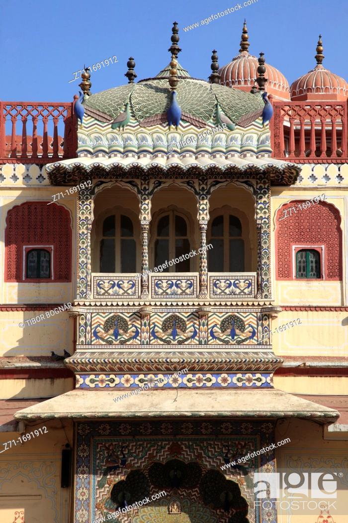 Stock Photo: India, Rajasthan, Jaipur, City Palace, Pitam Niwas Chowk, Peacock Gate,.