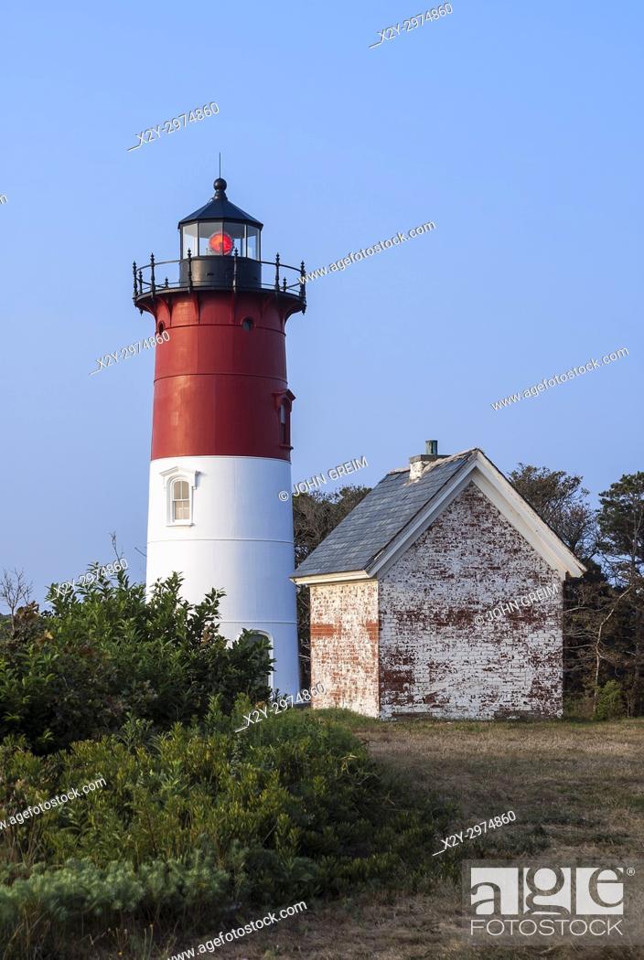 Stock Photo: Nauset Lighthouse, , Eastham, Cape Cod, Massachusetts, USA.