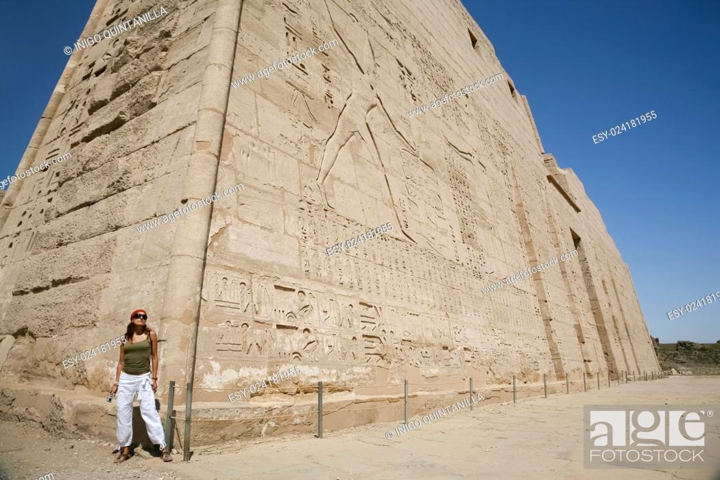 Tourist Woman In Corner Of Wall Facade Of Landmark Egyptian Temple Of Ramses Or Ramesses Iii At Stock Photo Picture And Low Budget Royalty Free Image Pic Esy 024181955 Agefotostock