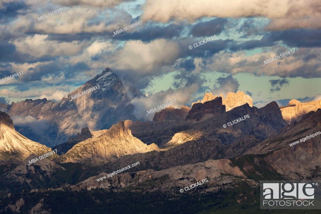 Stock Photo: Ampezzo Dolomites from Sass Ciampac, Badia Valley, South Tyrol, Italy,.