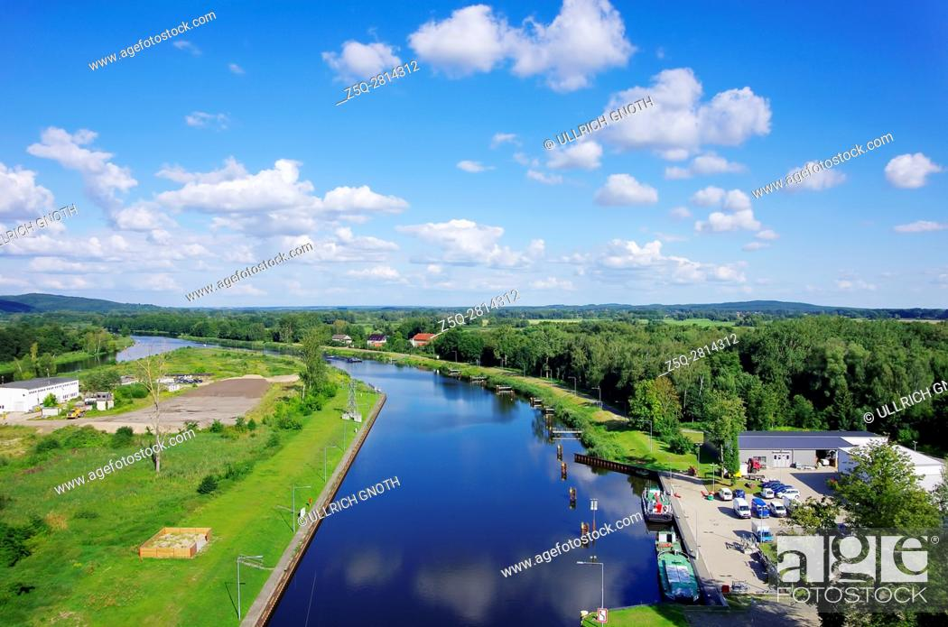 Stock Photo: The Oder-Havel Canal as seen as from the Niederfinow Boat Lift, Brandenburg, Germany.