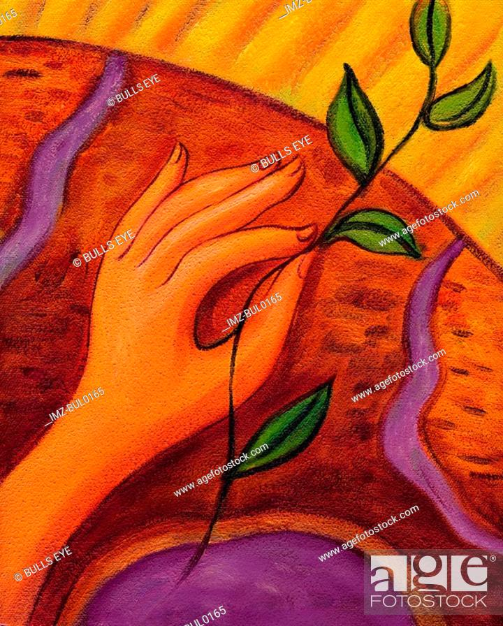 Stock Photo: An illustration of a hand holding a seedling.