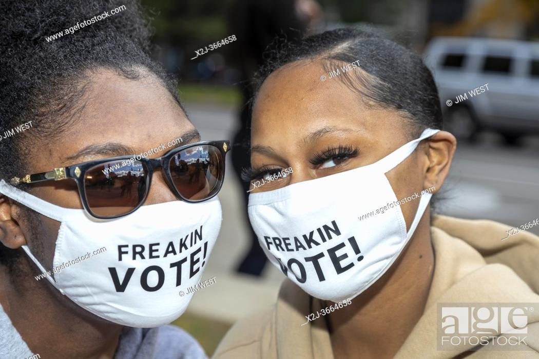 Stock Photo: Detroit, Michigan USA - 2 October 2020 - Voters at a Freakin Vote Friday rally near the city's elections department office.