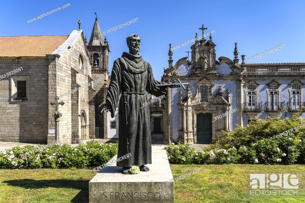 Stock Photo: Statue of Saint Francis and the Church of Saint Francis Igreja de São Francisco, Guimaraes, Portugal, Europe.