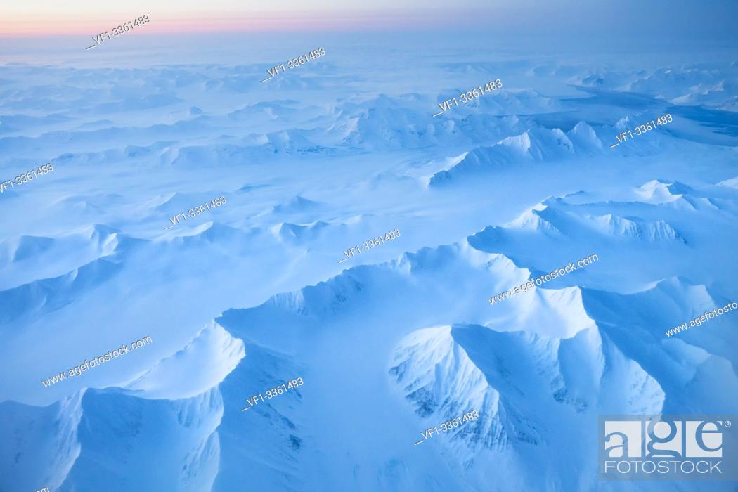 Stock Photo: aerial view of Spitsbergen at night in winter, Svalbard.