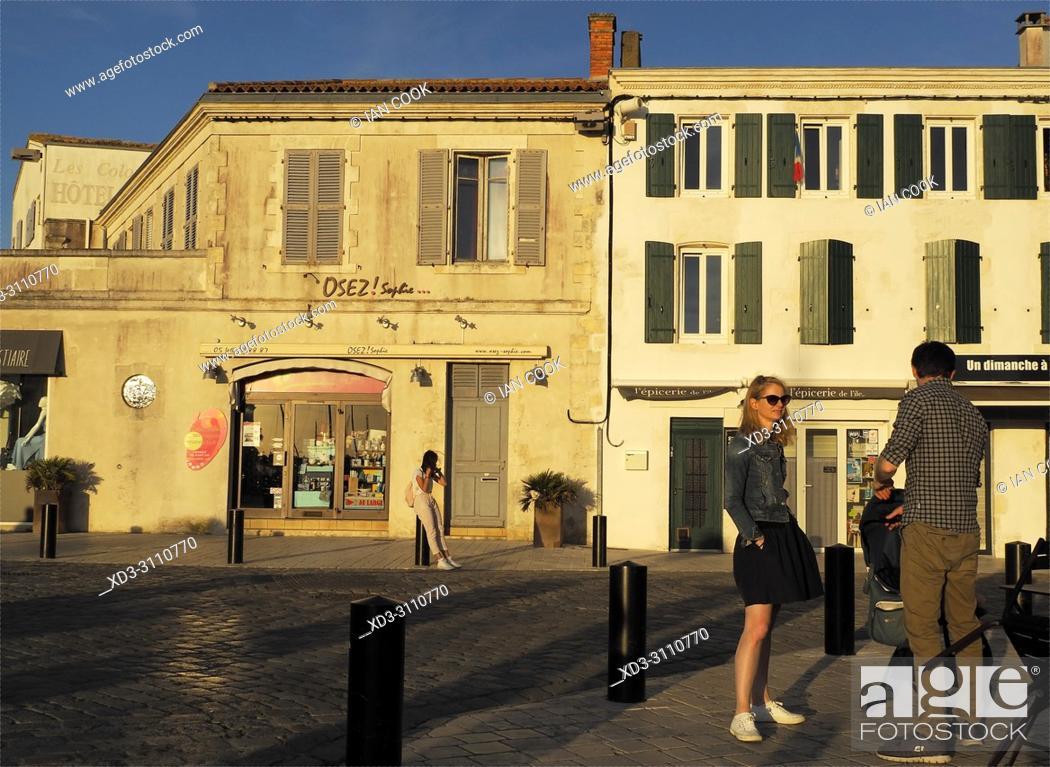 Stock Photo: Quai Job Foran, Saint-Martin-de-Re, Ile de Re, Charente-Maritime Department, Nouvelle Aquitaine, France.