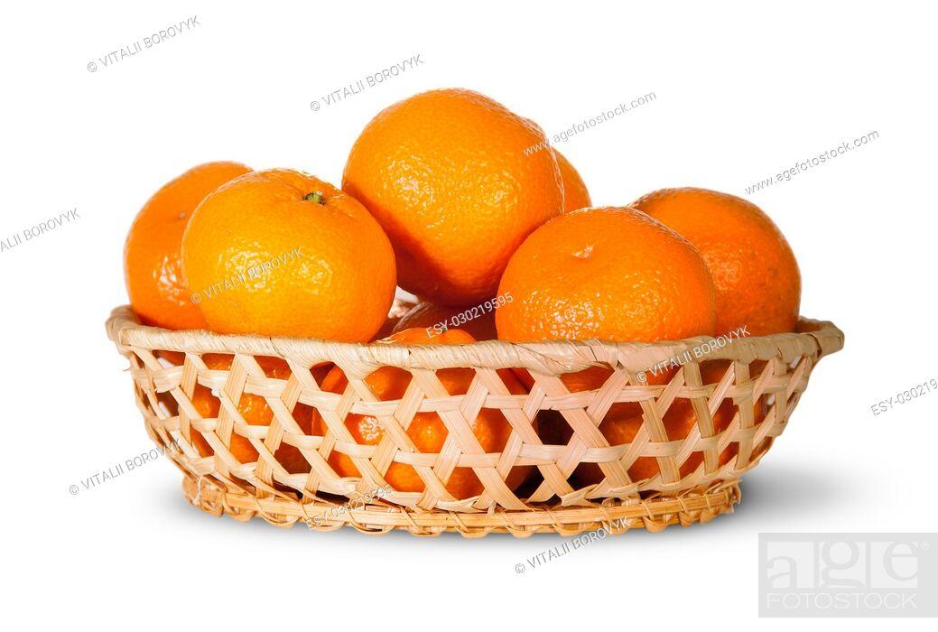 Stock Photo: Full Basket Of Ripe Tangerine Isolated On White Background.