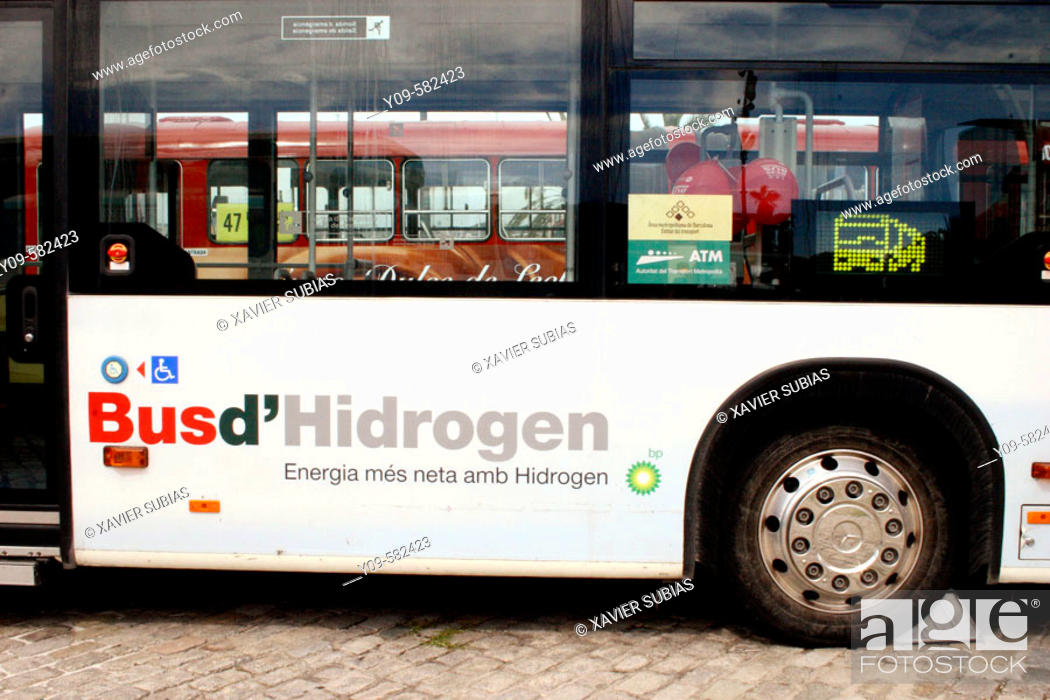 Stock Photo: Hydrogen Fuel Cell Bus. Barcelona, Spain.