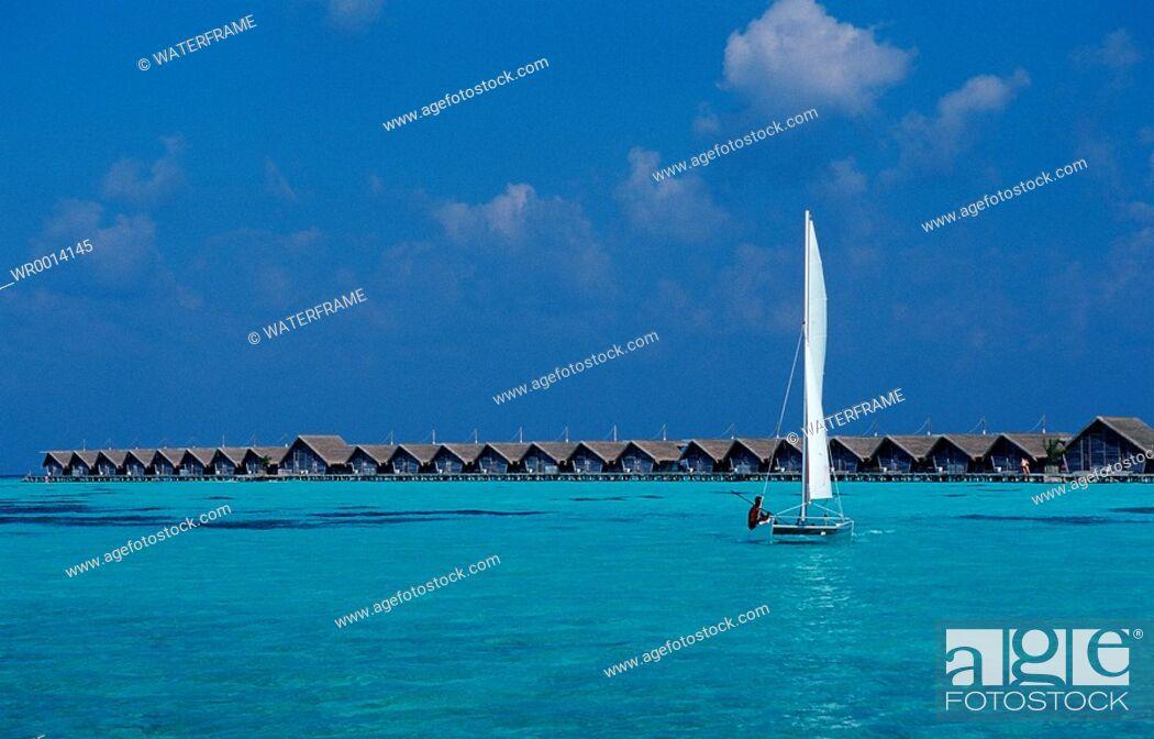 Stock Photo: Catamaran in Lagune, Indian Ocean, Maldives Island.