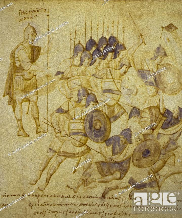 Stock Photo: Conquest of Canaan at Joshua Roll. Byzantine illuminated manuscript of the 10th century. Vatican Library.