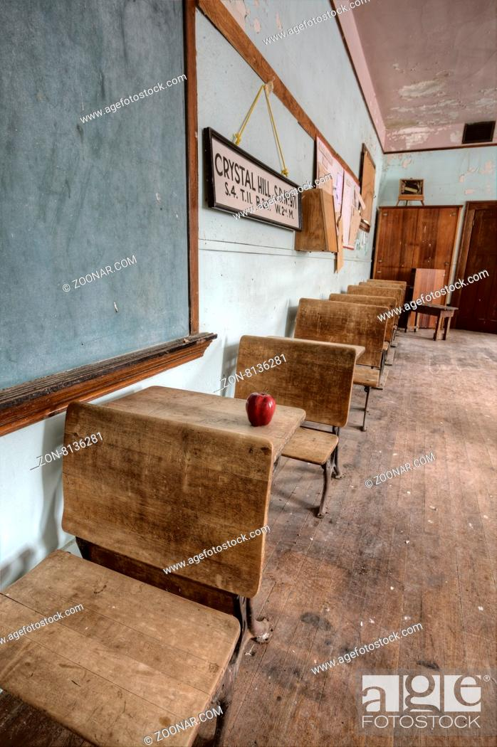 Stock Photo: Abandoned School House one room Canada Saskatchewan.