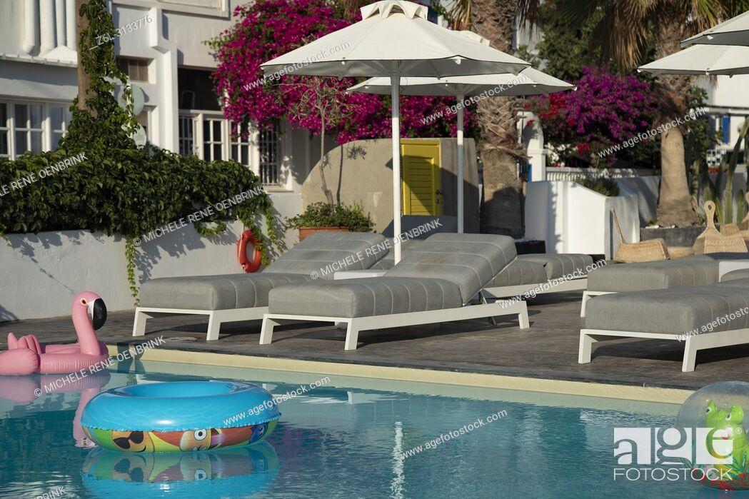 Stock Photo: Classic pool at hotel in Karmai Santorini Greece.