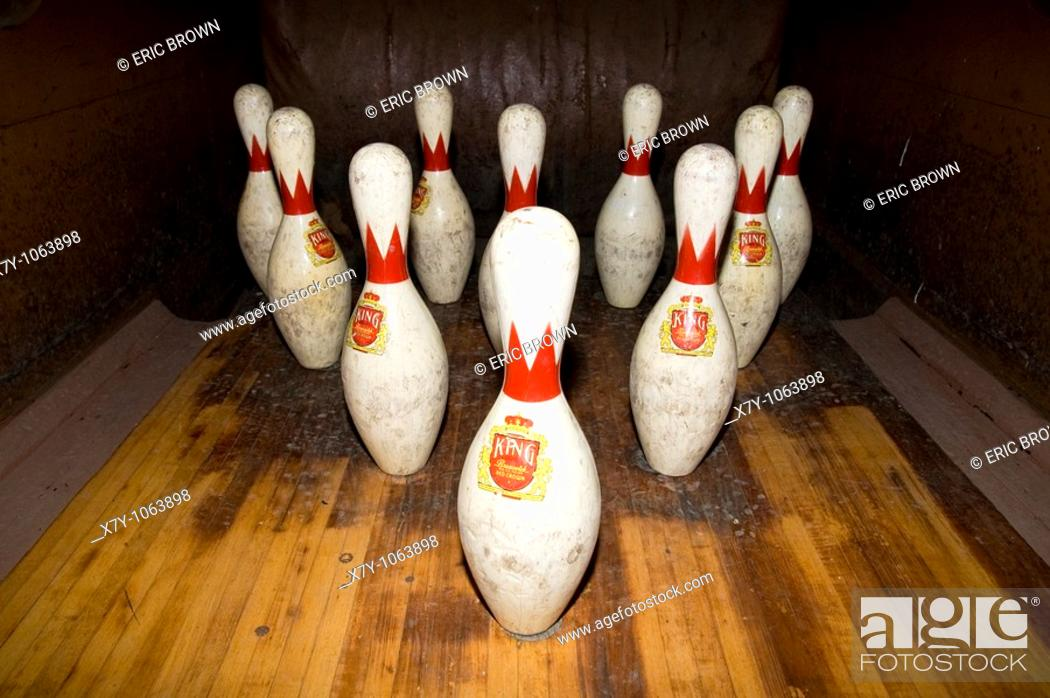 Stock Photo: Bowling in an old two-lane bowling alley in the Barrow Mansion, Jersey City, NJ.