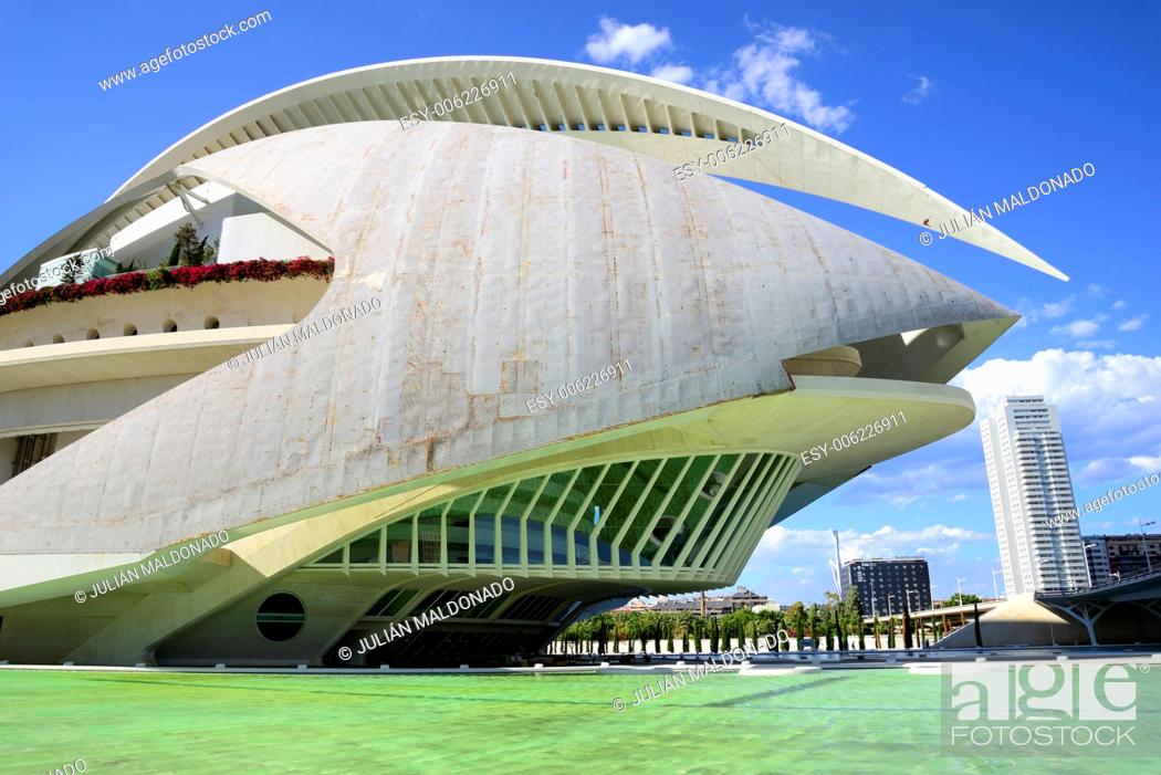 Stock Photo: Palace of Arts Reina Sofia, City of Arts and Sciences in Valencia, Spain.