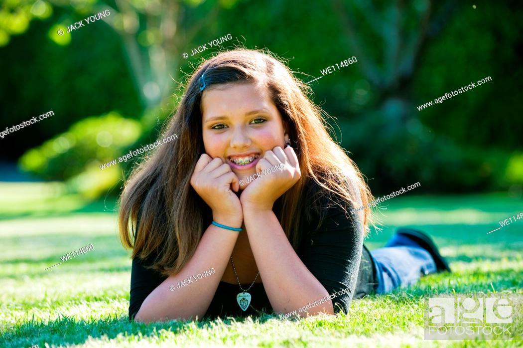 Stock Photo: A young girl out in the park.
