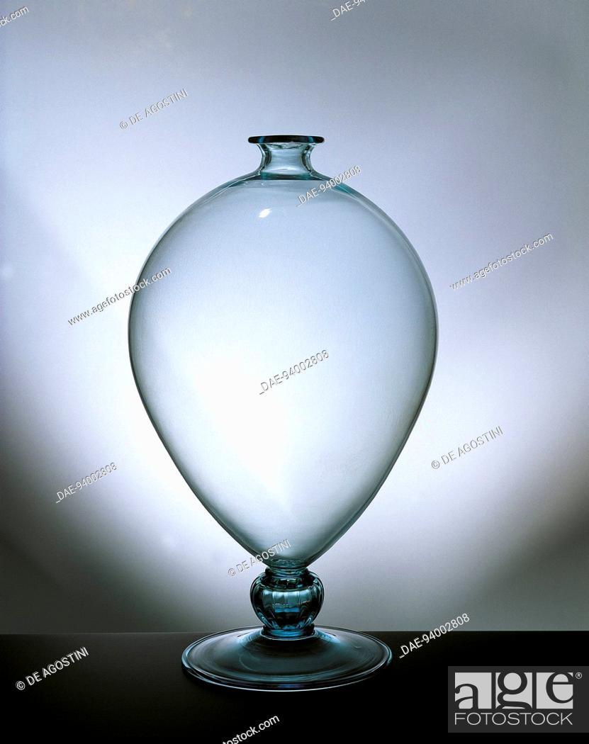 Glassware Italy 20th Century Blown Glass Veronese Vase Stock