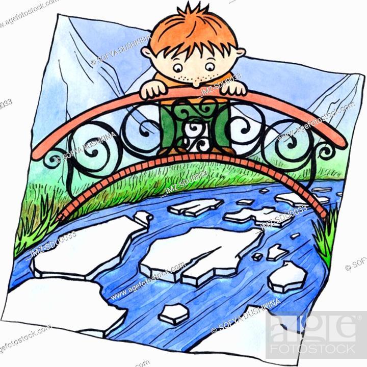 Stock Photo: A boy standing on a bridge watching a river melt.