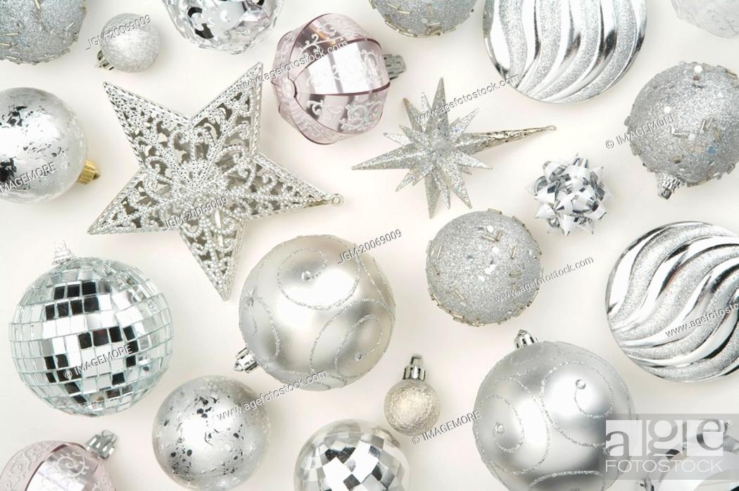 Stock Photo: Christmas baubles and decoration items.