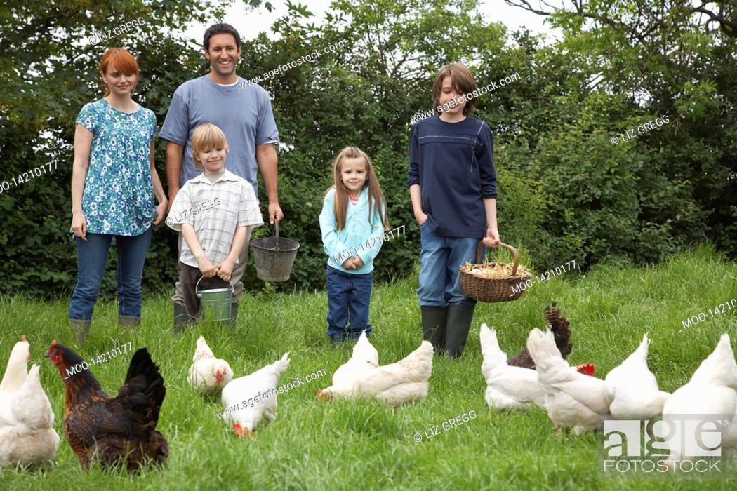 Stock Photo: Parents with three children 5-9 feeding hens in garden portrait.