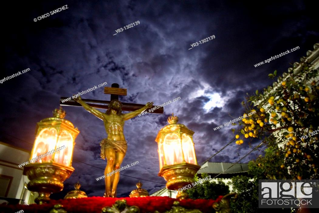 Stock Photo: Statue of the Christ of Good Death during a Holy Week procession in the town of Prado del Rey in Cadiz Province, Southern Spain.