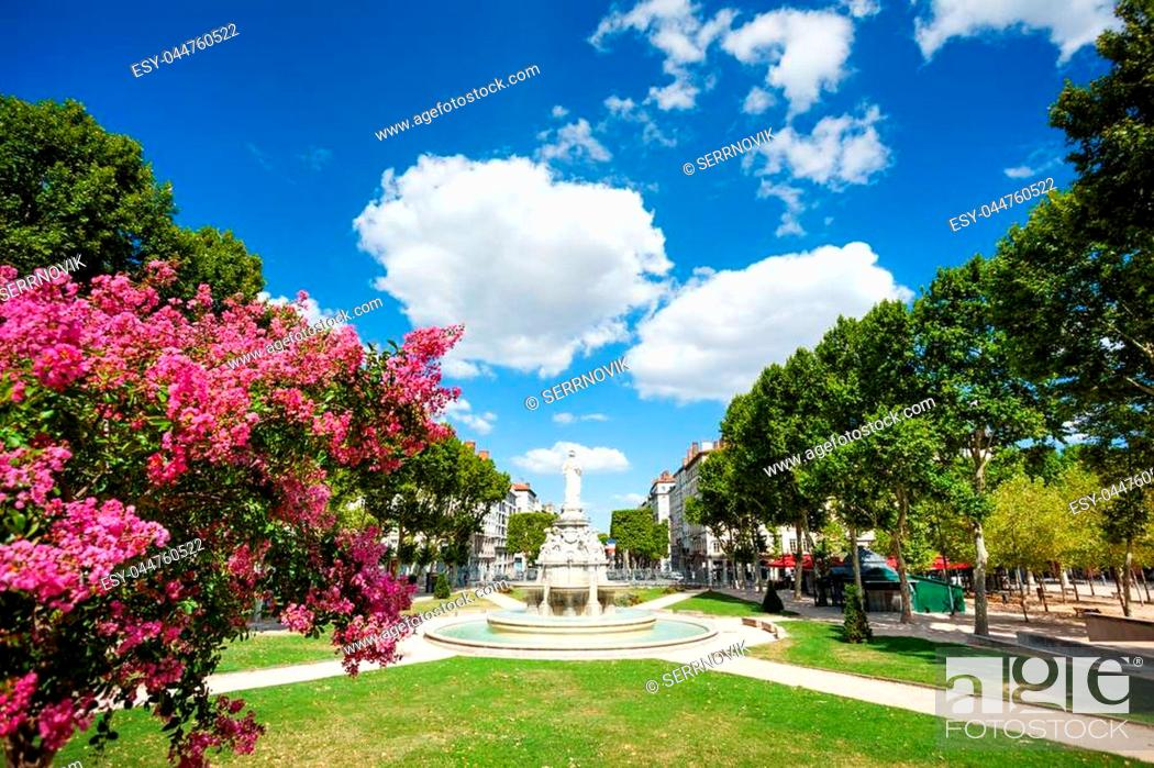 Stock Photo: Place du Marechal Lyautey with its fountain Morand in springtime, Lyon, France.