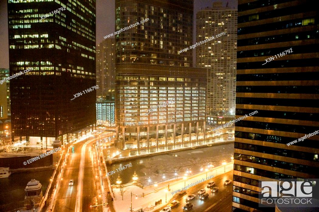 Stock Photo: Snowy Chicago at night.