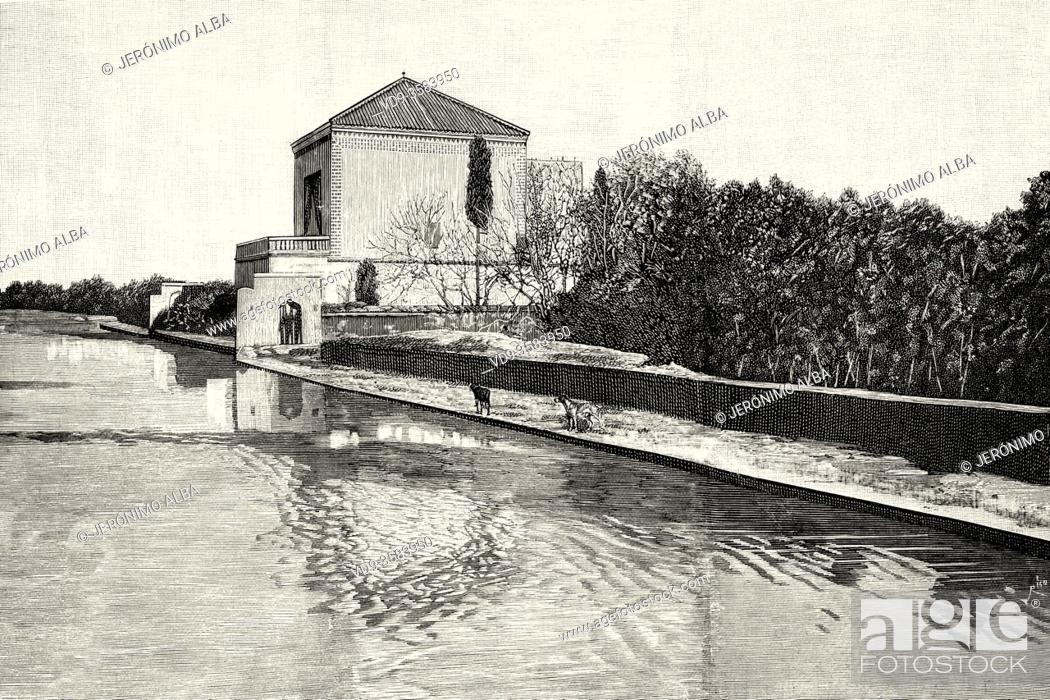 Stock Photo: Saadier Palace. Pool and Pavilion in the Menara Gardens, Marrakech, Morocco. North Africa. Old XIX century engraved illustration from La Ilustracion Española y.