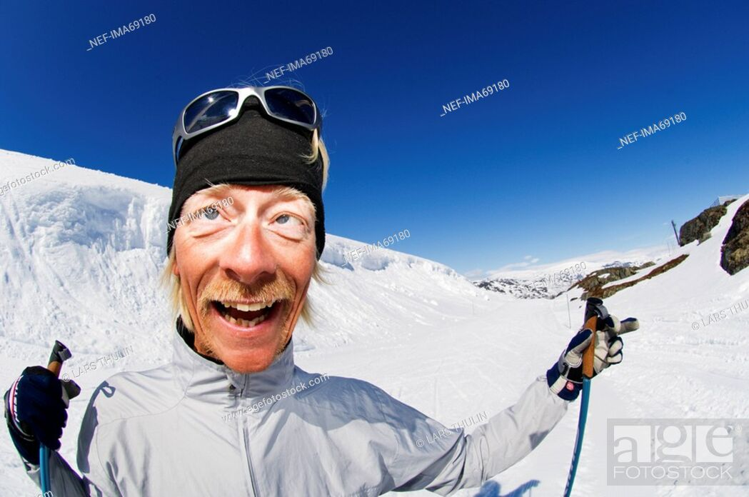 Stock Photo: A moustached skier Riksgransen Sweden.