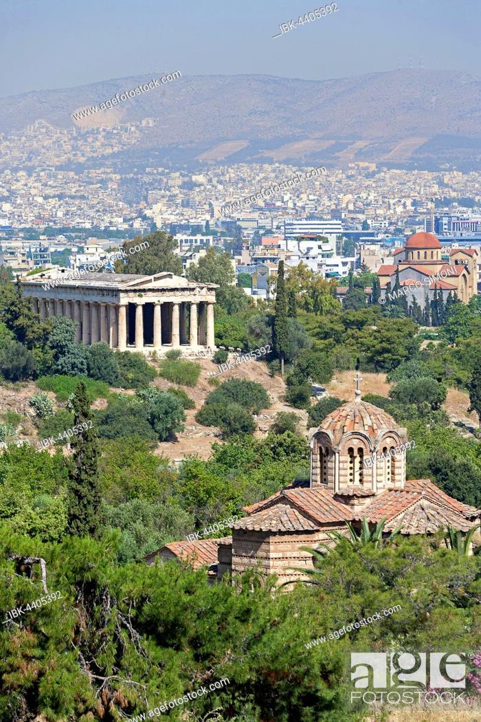Stock Photo: Temple of Hephaestus, The Church of the Holy Apostles, Holy Apostles of Solaki, Agii Apostoli, Athens, Greece.