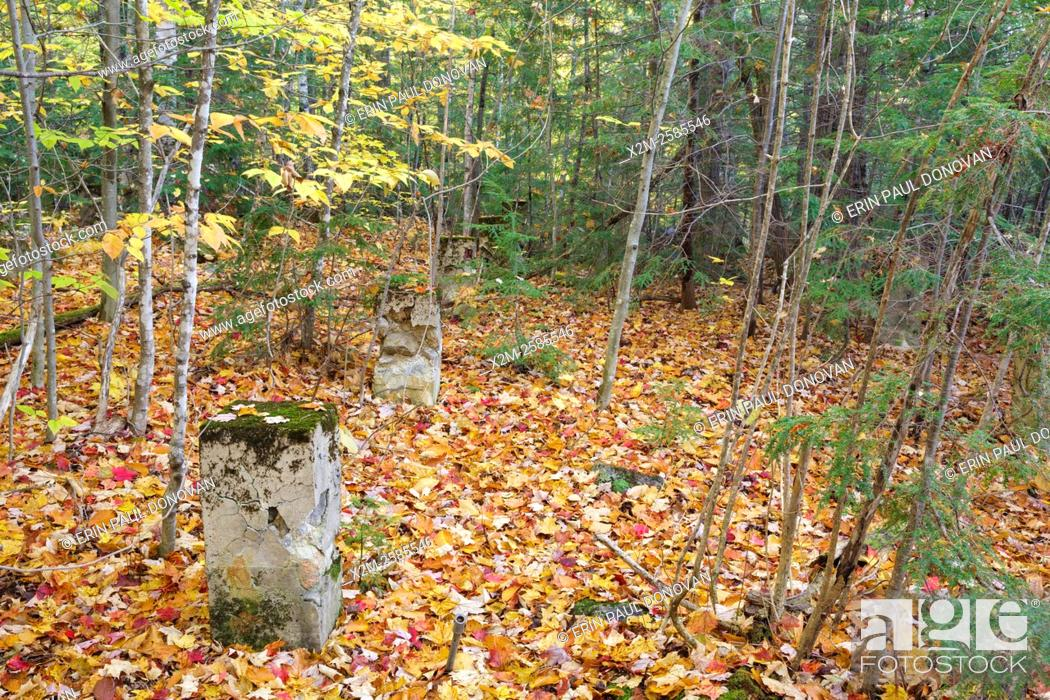 Stock Photo: Remnants of the dwellings along in the abandoned village of Livermore during the autumn months. This was a logging village in the late 19th and early 20th.