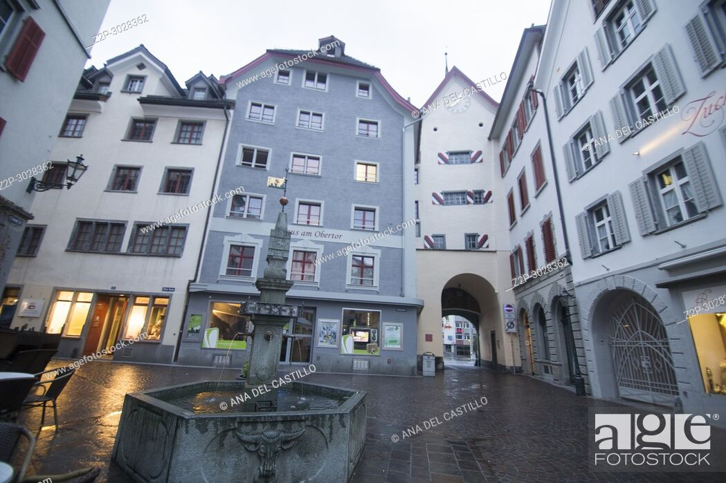 Stock Photo: Medieval Houses in Chur, Graubünden, Switzerland.