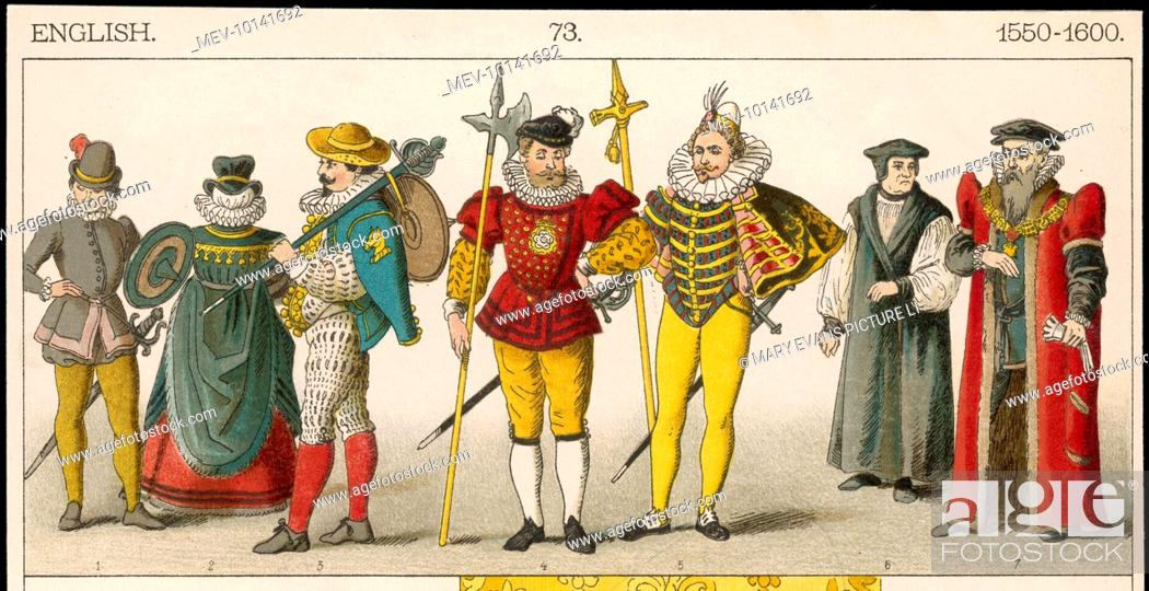 Stock Photo: Soldiers, a Noblewoman, Halberdiers, a Bishop & the Lord Mayor of London illustrating a range of costumes, uniforms & official dress of the period.