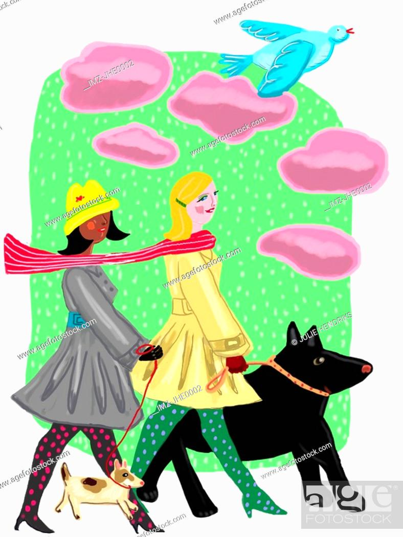 Stock Photo: Two women walking their dogs on a cold day.