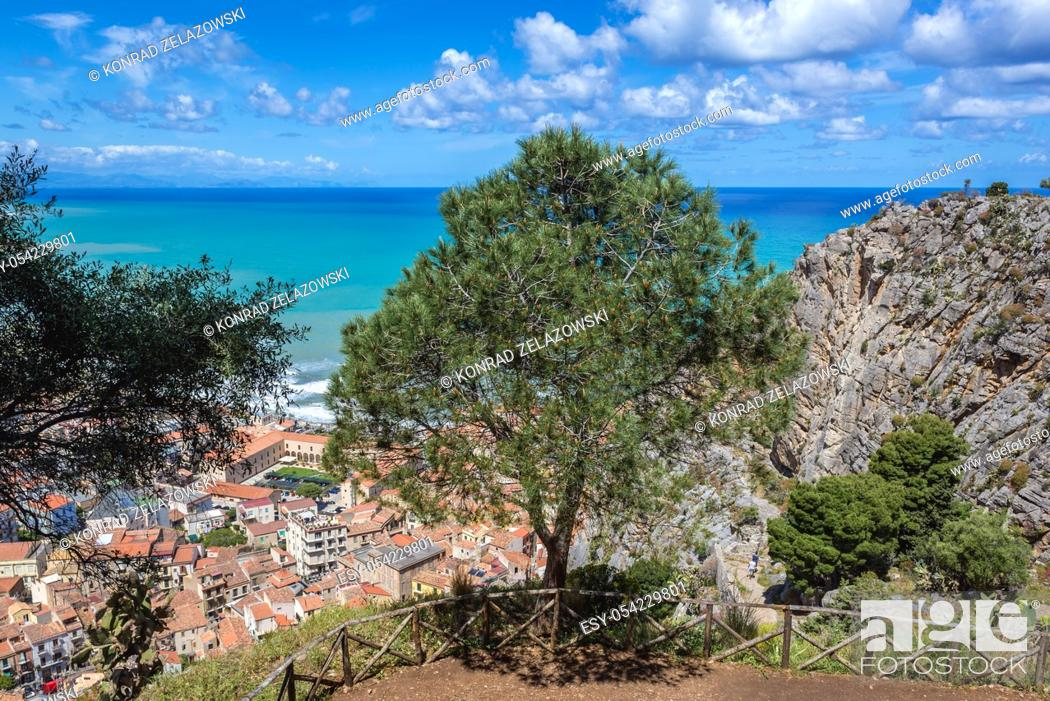 Stock Photo: Aerial view from tourist path on Rocca di Cefalu rock massif in Cefalu city and comune on the Tyrrhenian coast of Sicily, Italy.