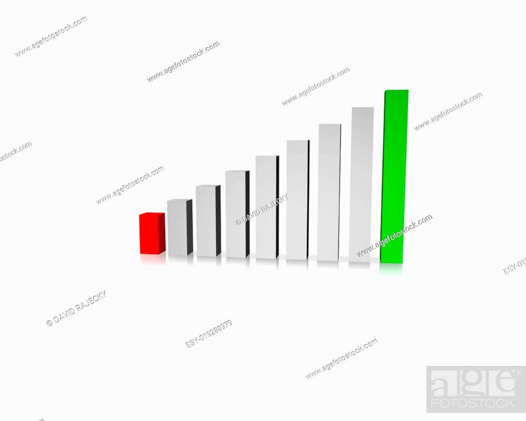 Stock Photo: Business Graph with red and green - loss and gain bar.