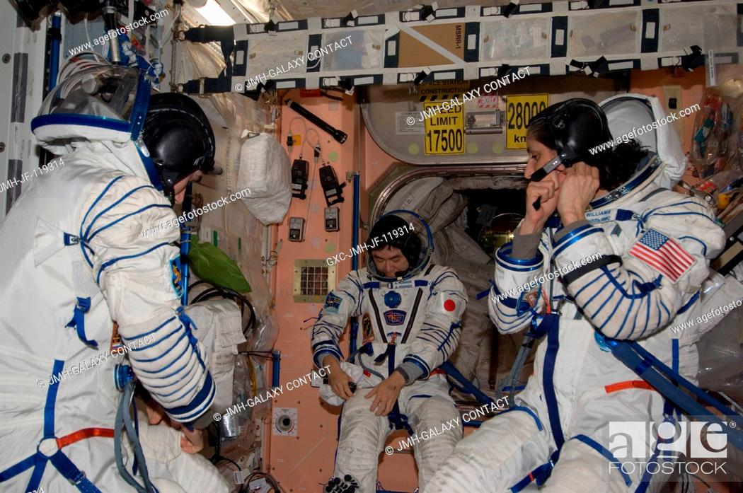 Stock Photo: In the International Space Station's Unity node, NASA astronaut Sunita Williams, Expedition 33 commander; along with Japan Aerospace Exploration Agency.