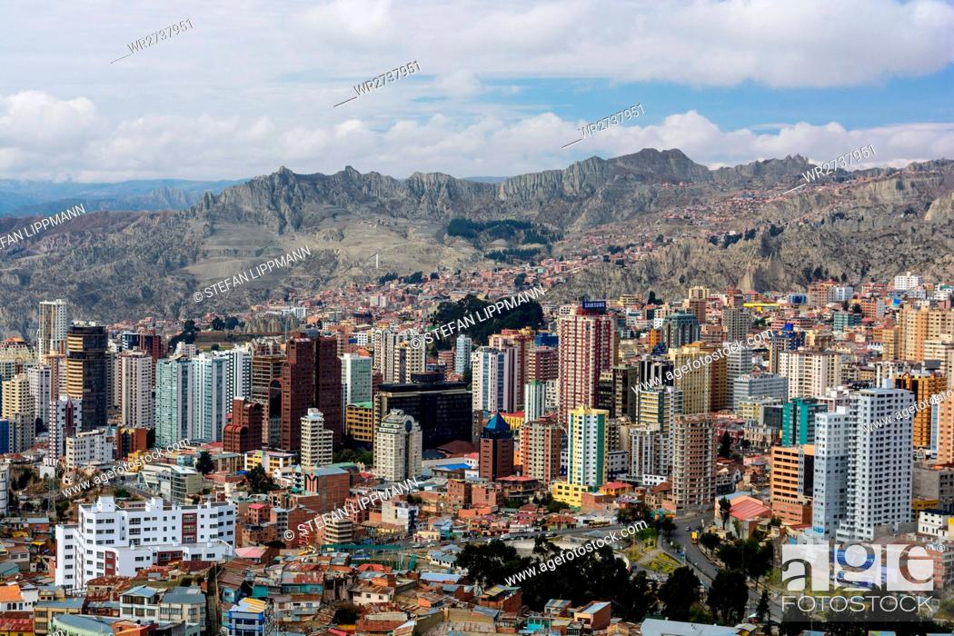 Stock Photo: Bolivia, Departamento de La Paz, La Paz, La Paz is the government seat of Bolivia. Formal capital is Sucre.